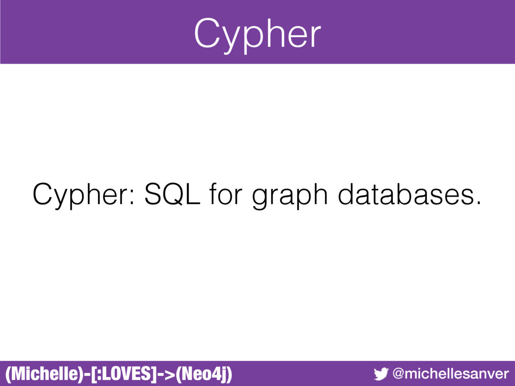(Michelle)-[:LOVES]->(Neo4j) @michellesanver Cy...