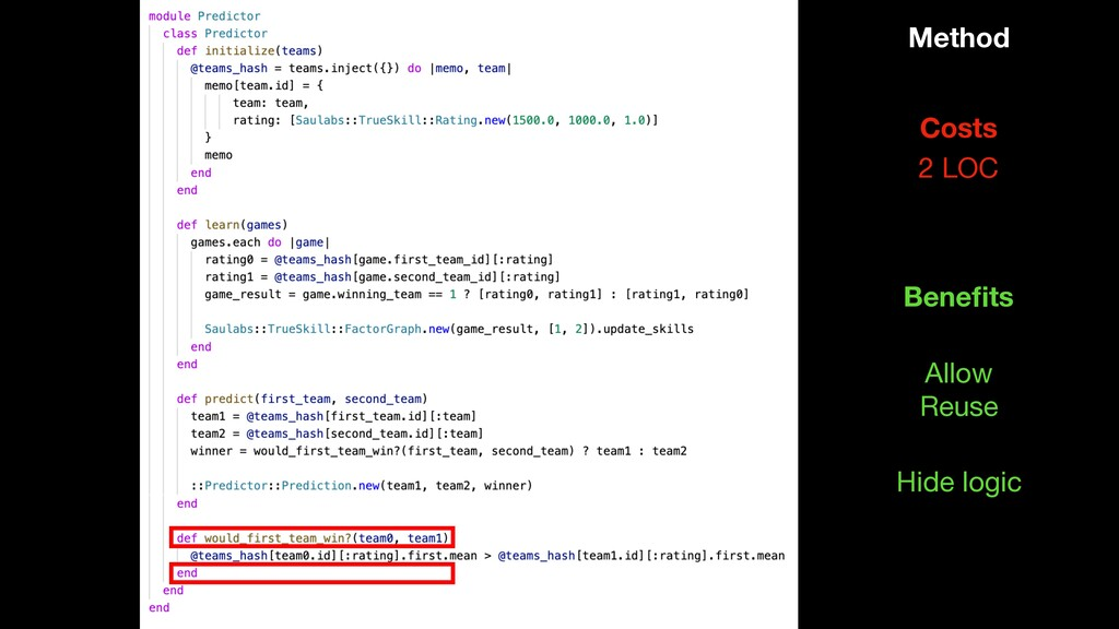Method 2 LOC Costs Hide logic Benefits Allow   R...