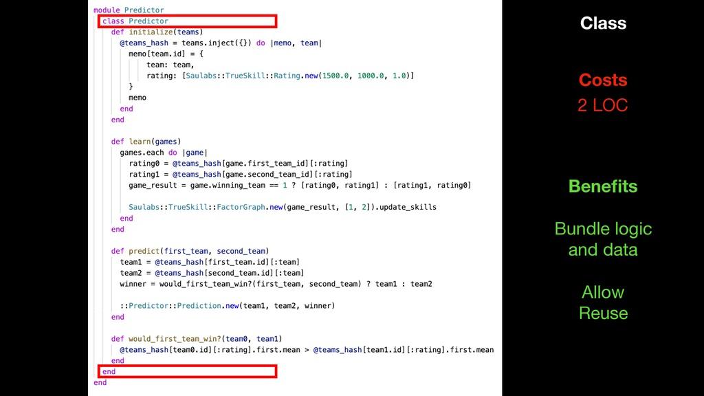 Class 2 LOC Costs Bundle logic  and data Benefit...