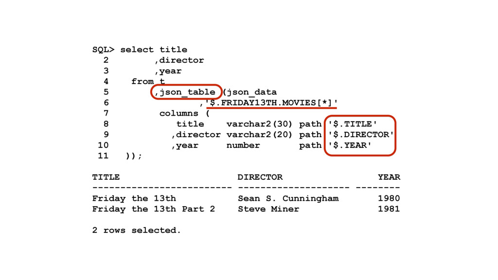 SQL> select title 2 ,director 3 ,year 4 from t ...