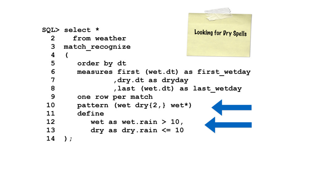 SQL> select * 2 from weather 3 match_recogniz...