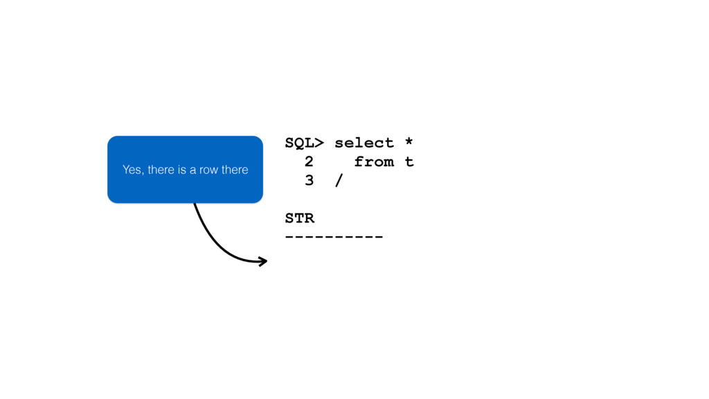 SQL> select * 2 from t 3 / STR ---------- Yes, ...
