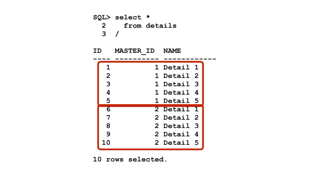 SQL> select * 2 from details 3 / ID MASTER_ID N...