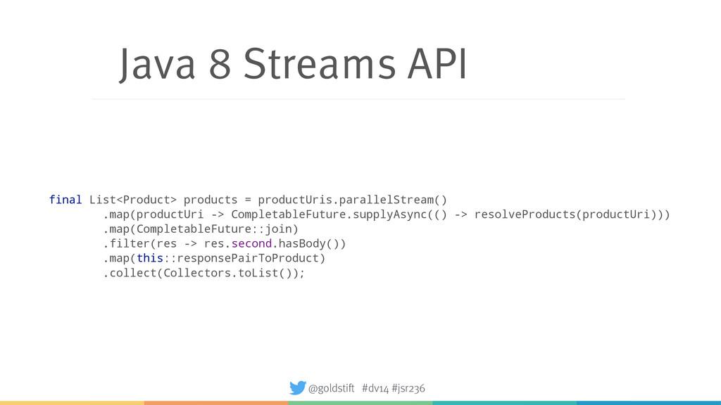 Java 8 Streams API final List<Product> products...
