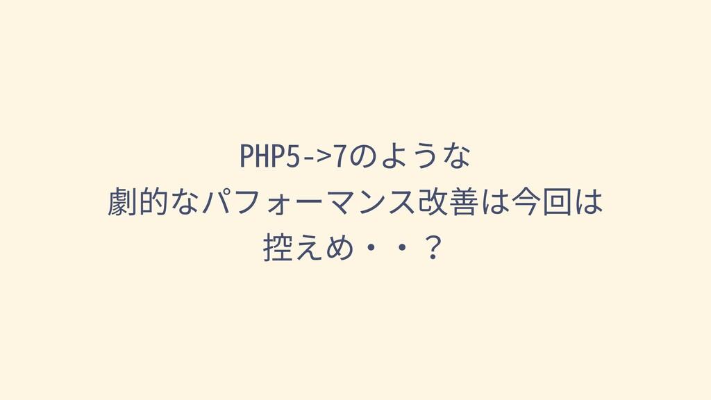PHP5->7のような 劇的なパフォーマンス改善は今回は 控えめ・・?