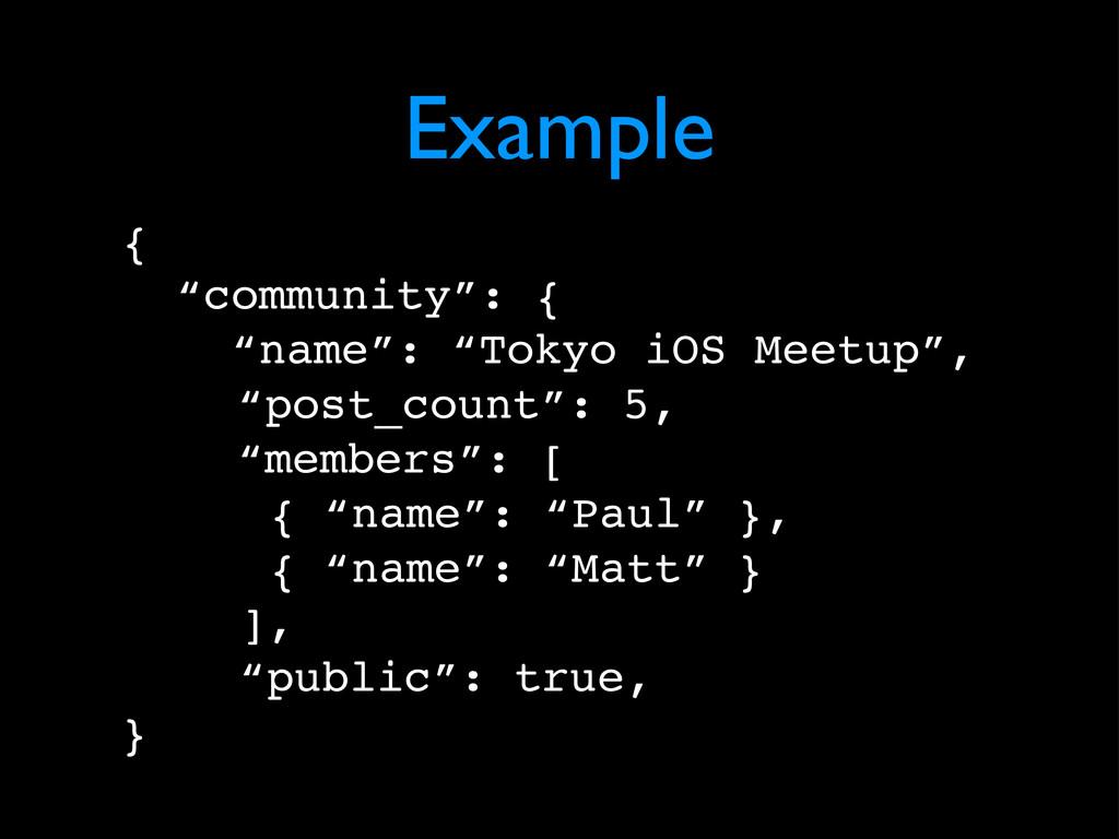 "Example { ""community"": { ""name"": ""Tokyo iOS Mee..."