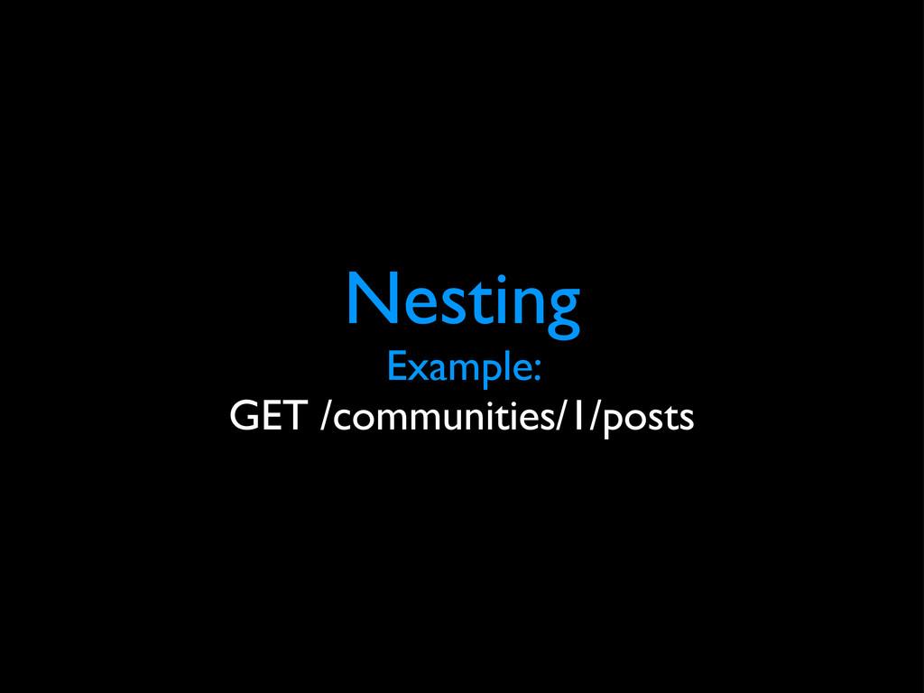Nesting Example: GET /communities/1/posts