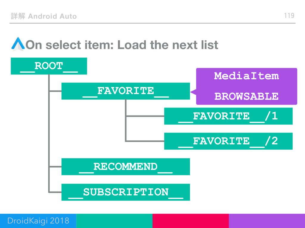 ৄղ Android Auto On select item: Load the next l...