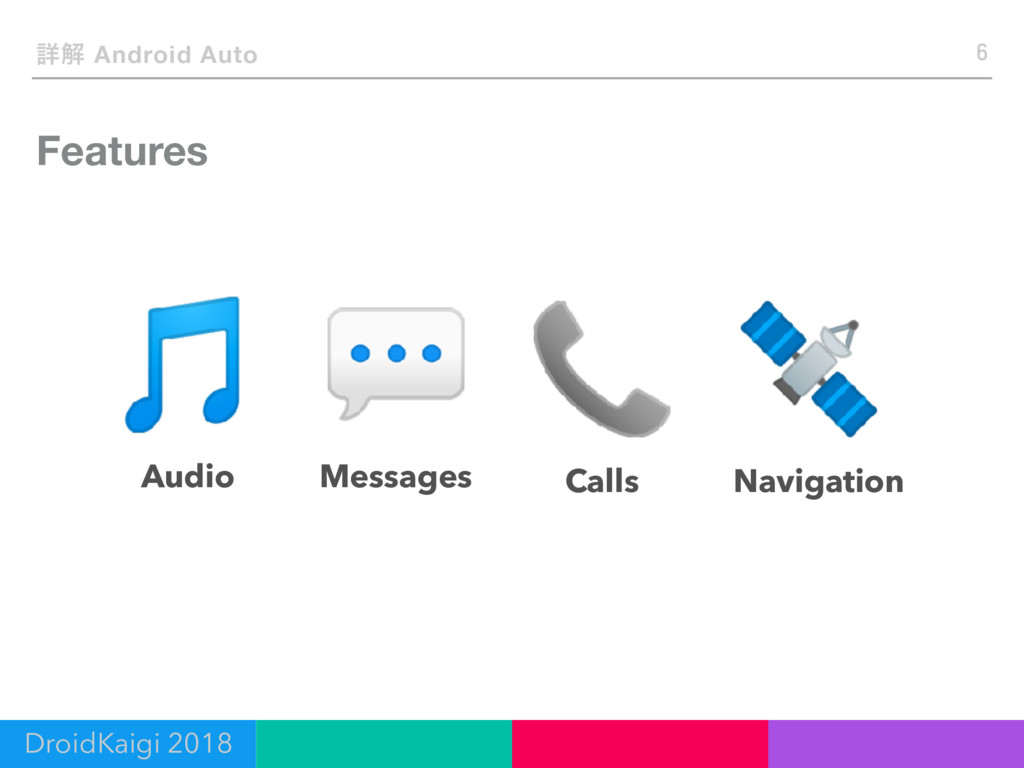 Features 6 ৄղ Android Auto Audio Messages Calls...