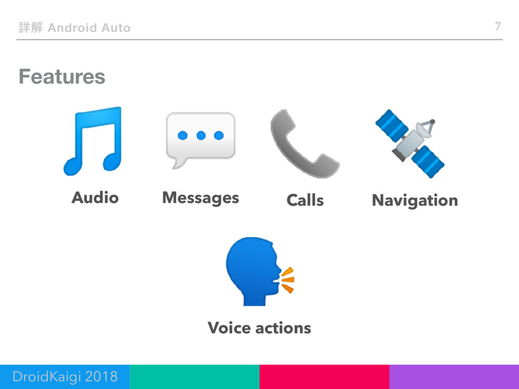 Features 7 ৄղ Android Auto Audio Messages Calls...