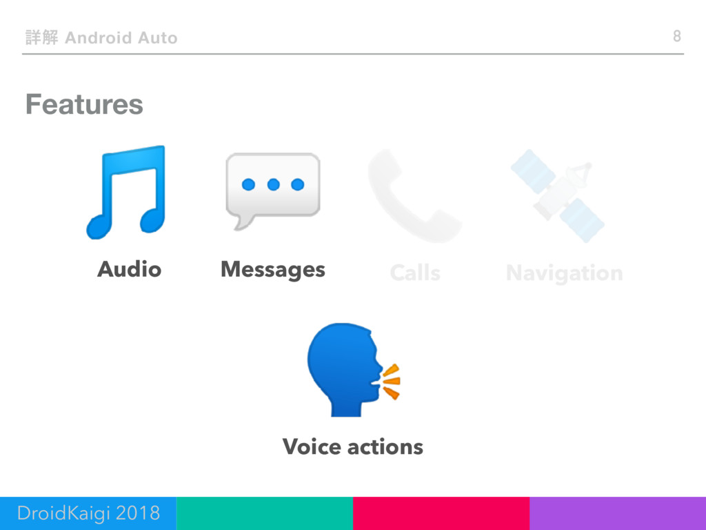 Features 8 ৄղ Android Auto Audio Messages Calls...