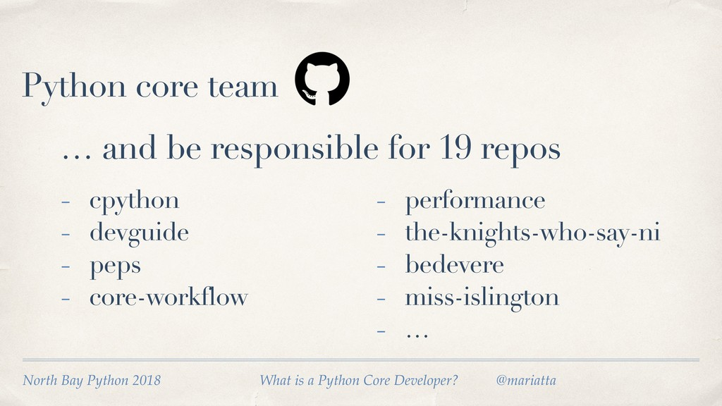 Python core team … and be responsible for 19 re...