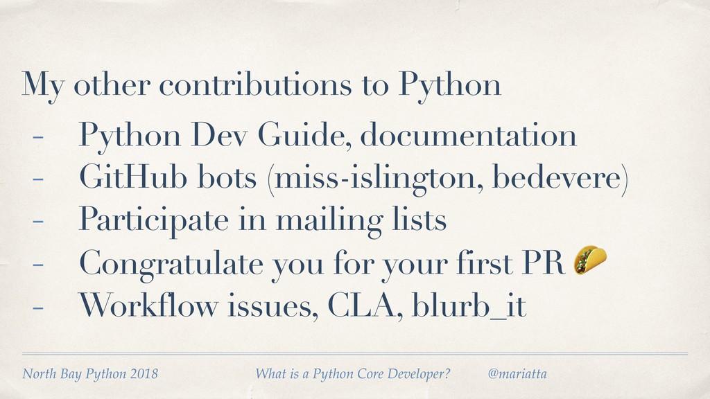 My other contributions to Python - Python Dev G...