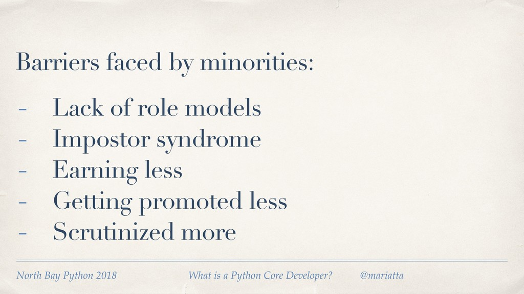 Barriers faced by minorities: - Lack of role mo...