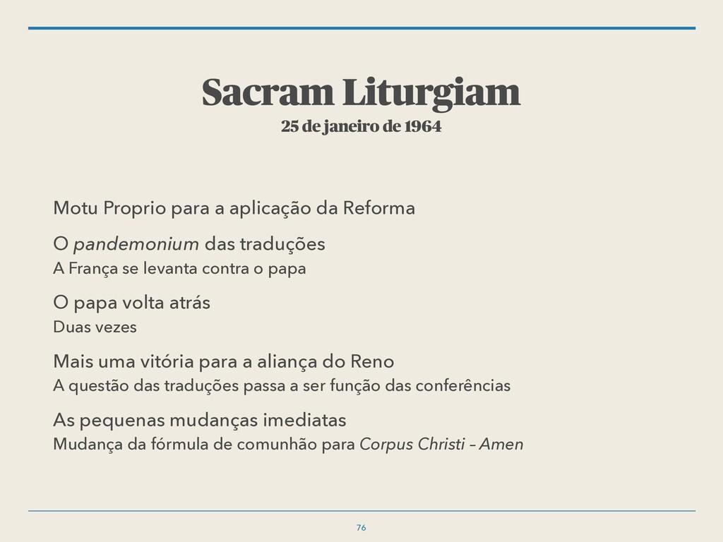 Sacram Liturgiam 25 de janeiro de 1964 Motu Pro...