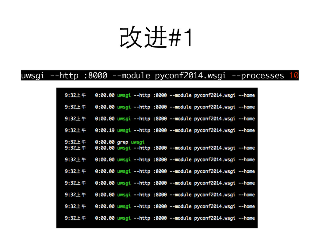 改进#1 uwsgi --http :8000 --module pyconf2014.wsg...