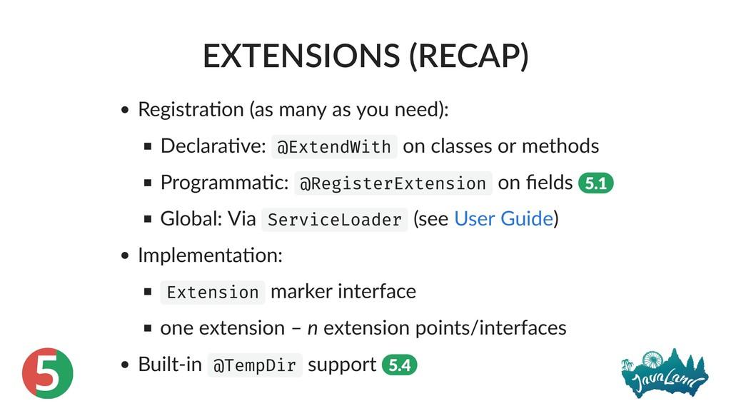 5 EXTENSIONS (RECAP) Registra on (as many as yo...