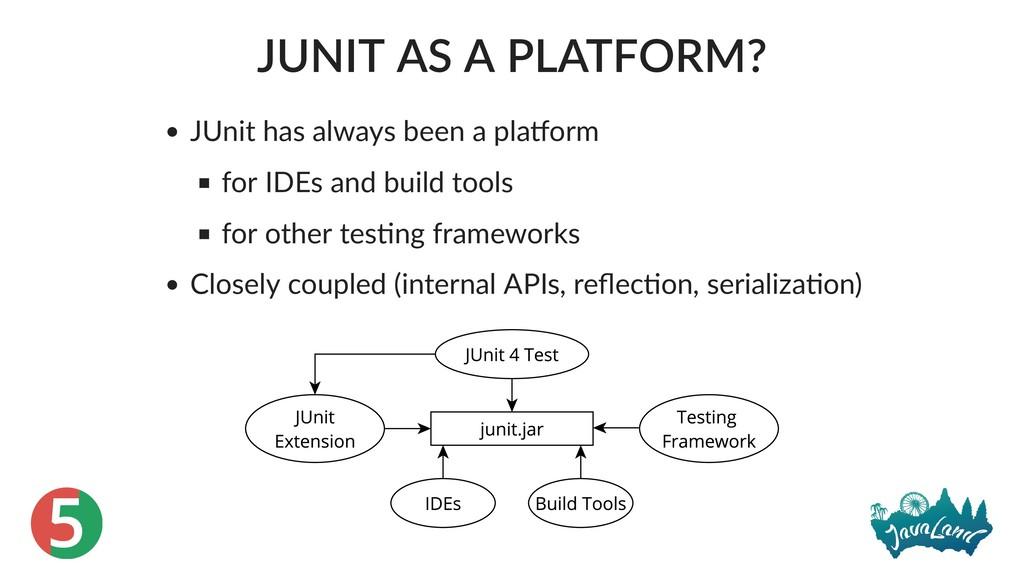 5 JUNIT AS A PLATFORM? JUnit has always been a ...