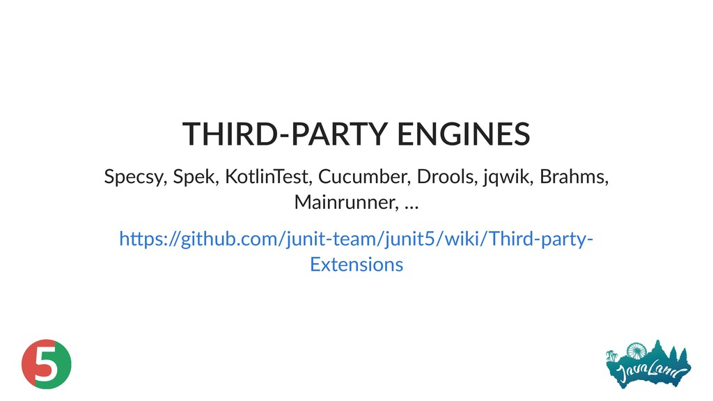 5 THIRD‑PARTY ENGINES Specsy, Spek, KotlinTest,...