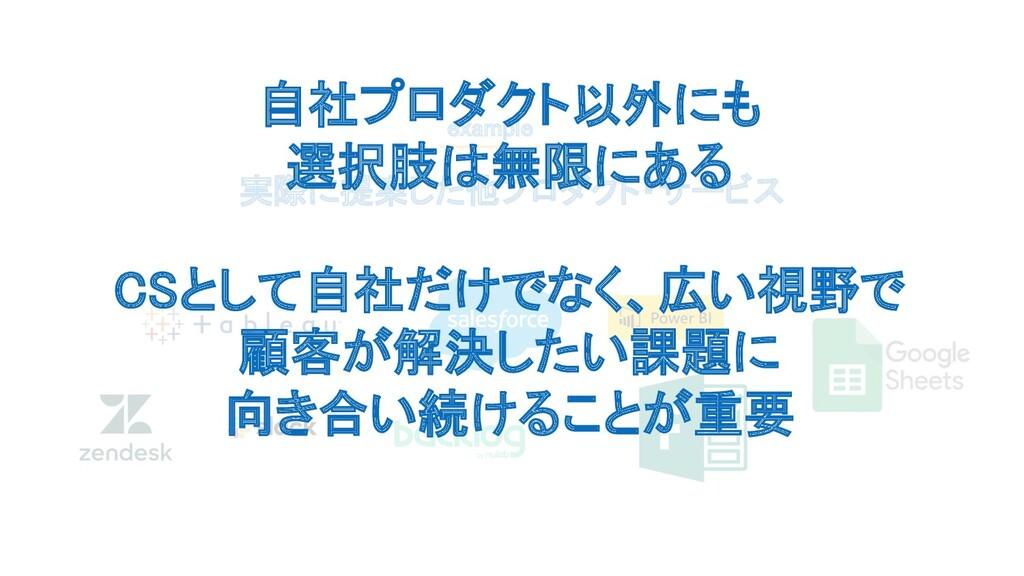実際に提案した他プロダクト・サービス example 自社プロダクト以外にも 選択肢は無限...