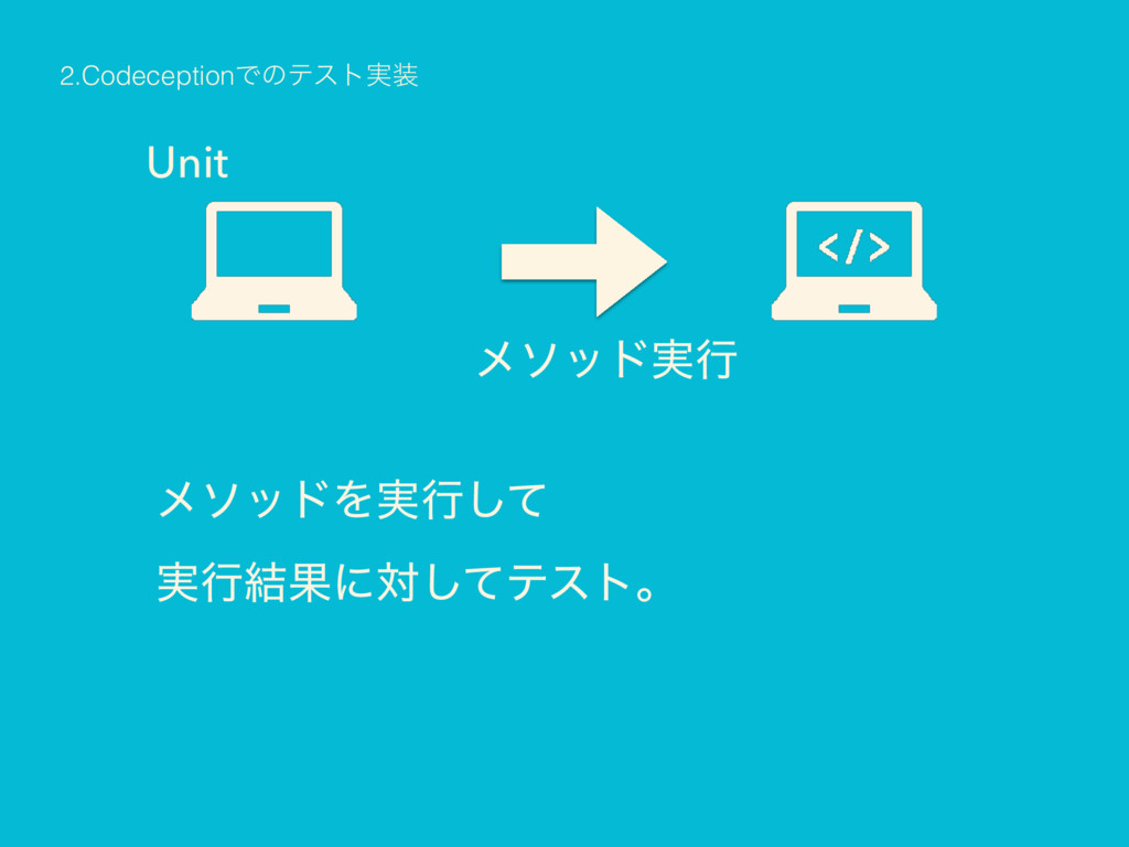 Unit ϝιου࣮ߦ ϝιουΛ࣮ߦͯ͠ ࣮ߦ݁Ռʹରͯ͠ςετɻ 2.Codecept...