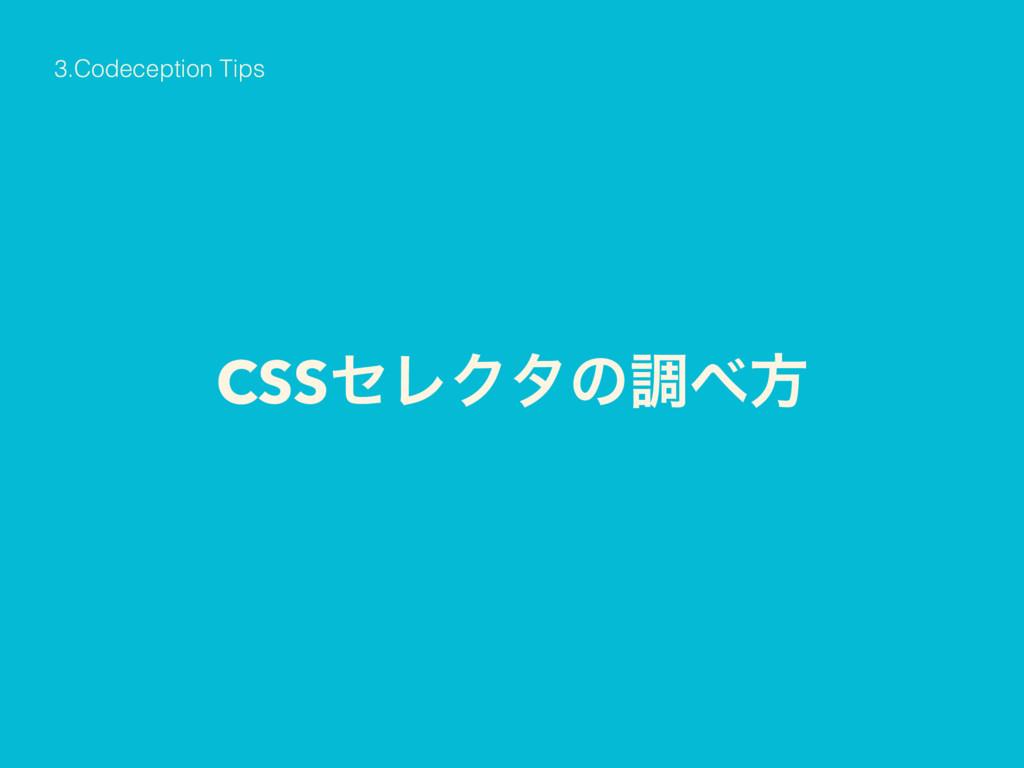 CSSηϨΫλͷௐํ 3.Codeception Tips