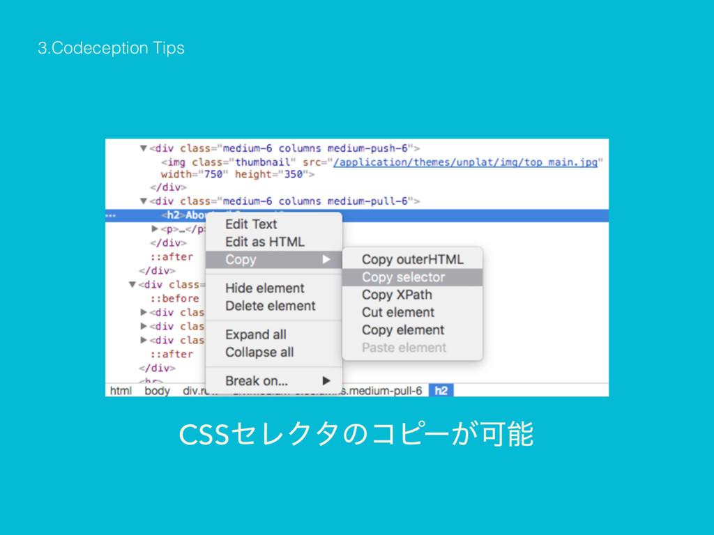 3.Codeception Tips CSSηϨΫλͷίϐʔ͕Մ