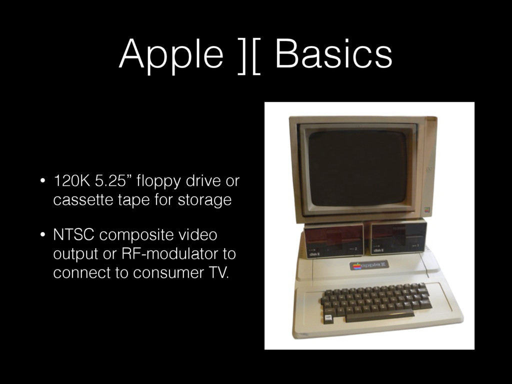 "Apple ][ Basics • 120K 5.25"" floppy drive or cas..."