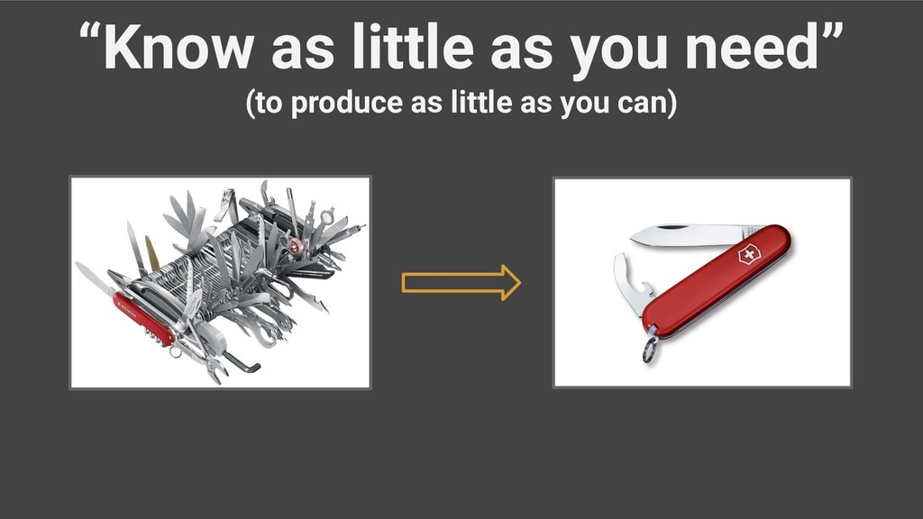 """""""Know as little as you need"""" (to produce as lit..."""