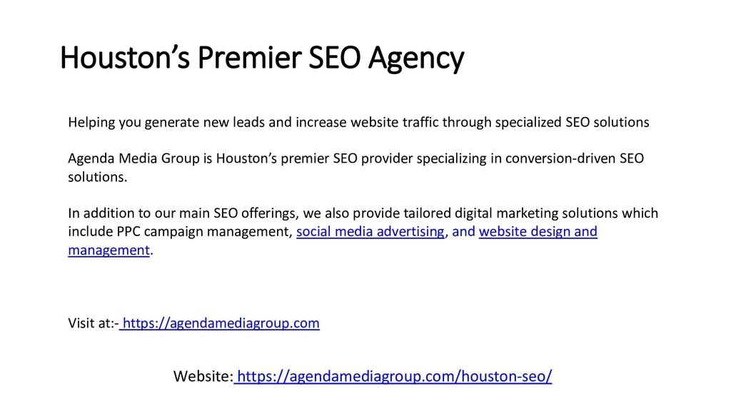 Houston's Premier SEO Agency Helping you genera...