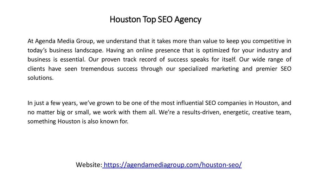 Houston Top SEO Agency At Agenda Media Group, w...