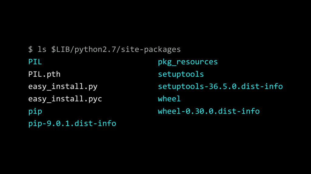 $ ls $LIB/python2.7/site-packages PIL pkg_resou...