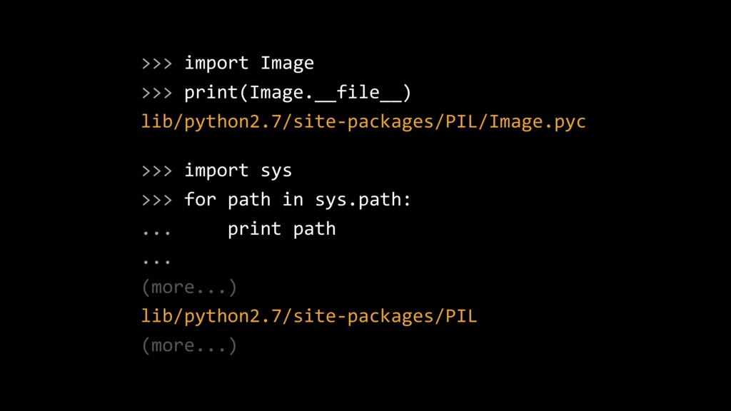 >>> import Image >>> print(Image.__file__) lib/...