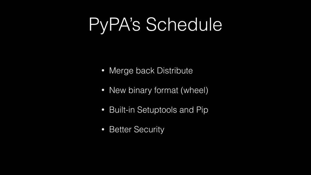 PyPA's Schedule • Merge back Distribute • New b...