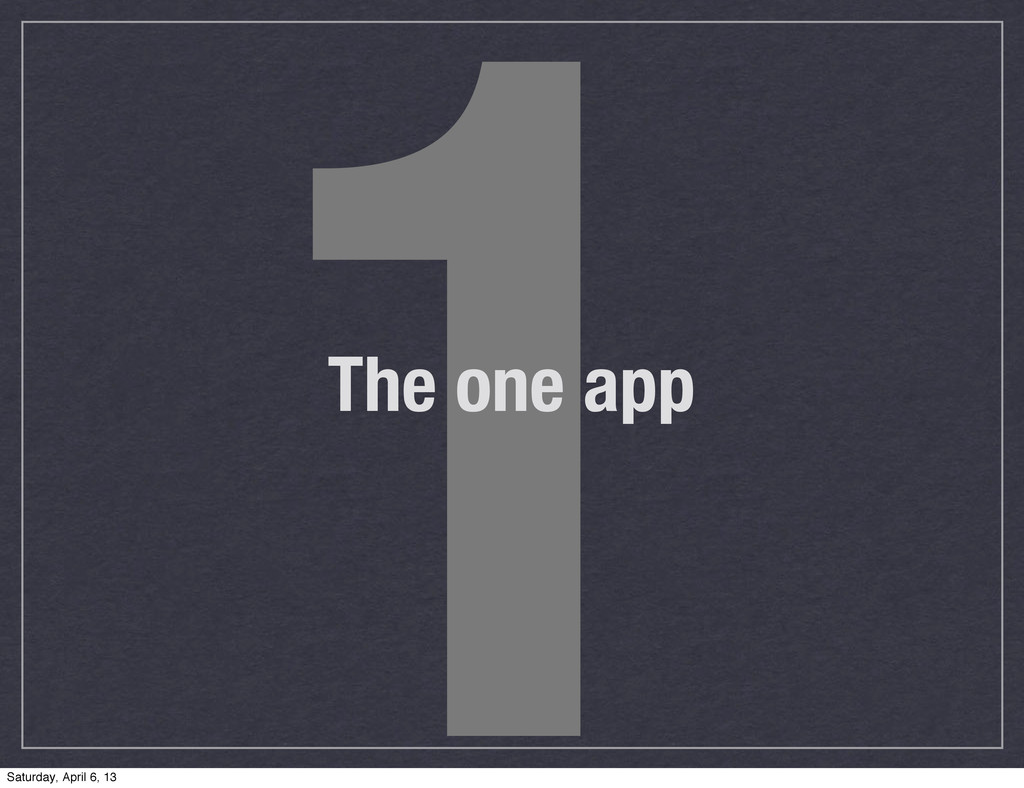 1 The one app Saturday, April 6, 13