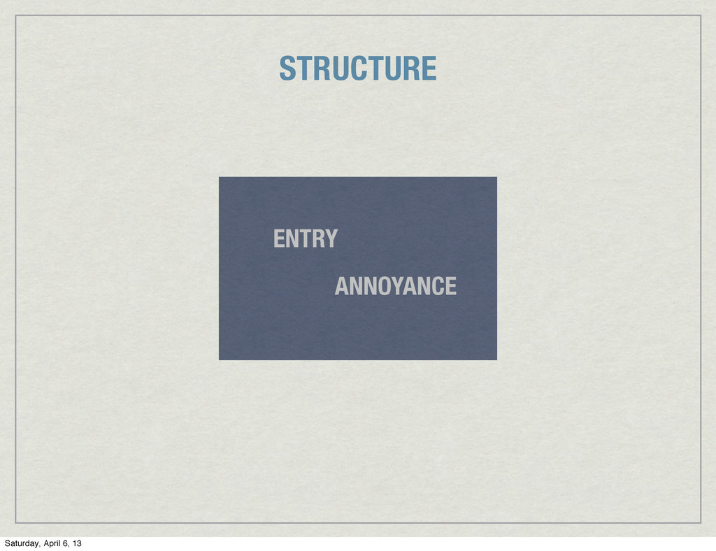 ANNOYANCE ENTRY STRUCTURE Saturday, April 6, 13
