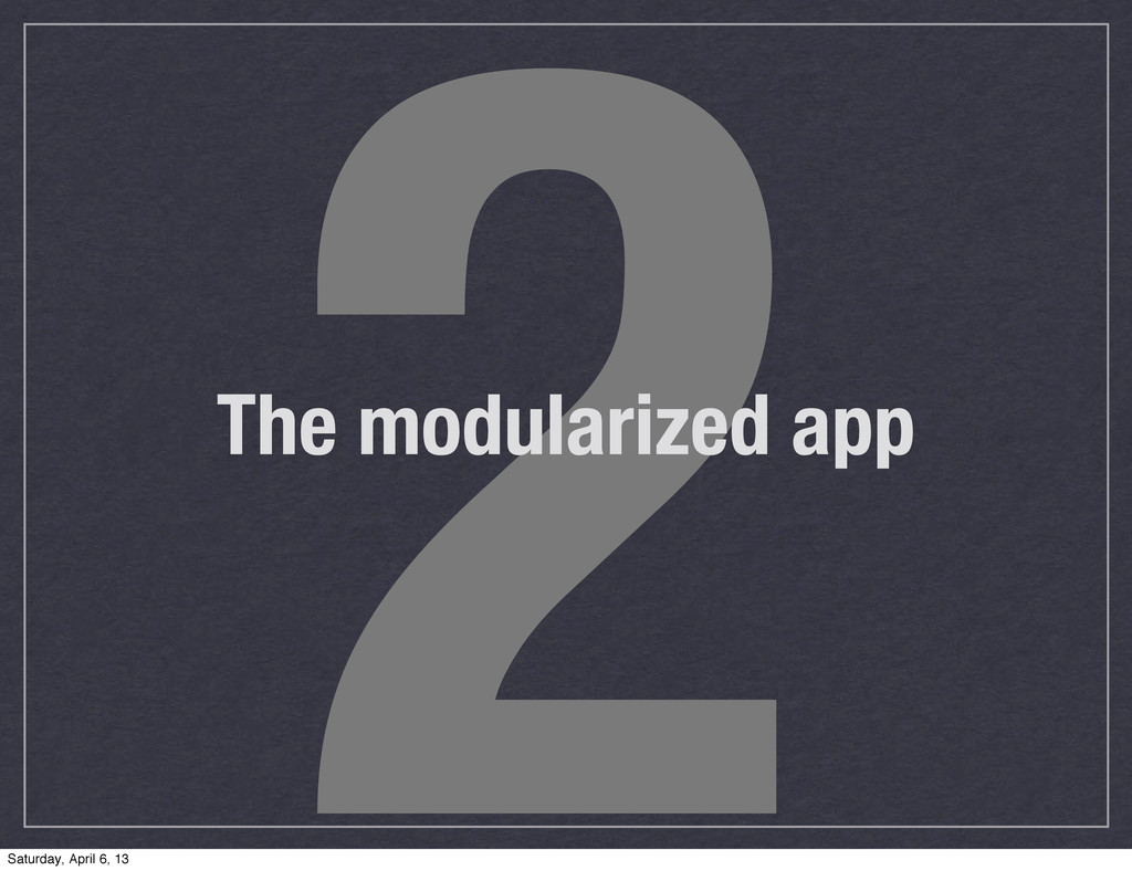 2 The modularized app Saturday, April 6, 13