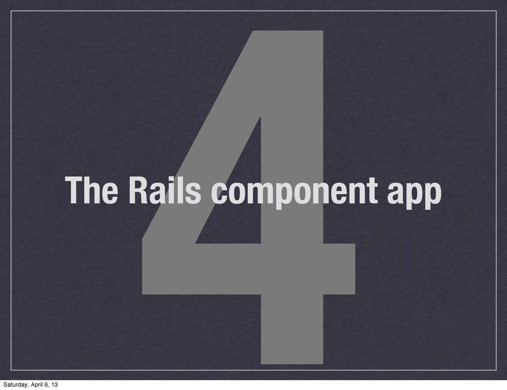 4 The Rails component app Saturday, April 6, 13