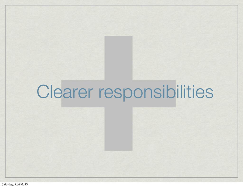 + Clearer responsibilities Saturday, April 6, 13
