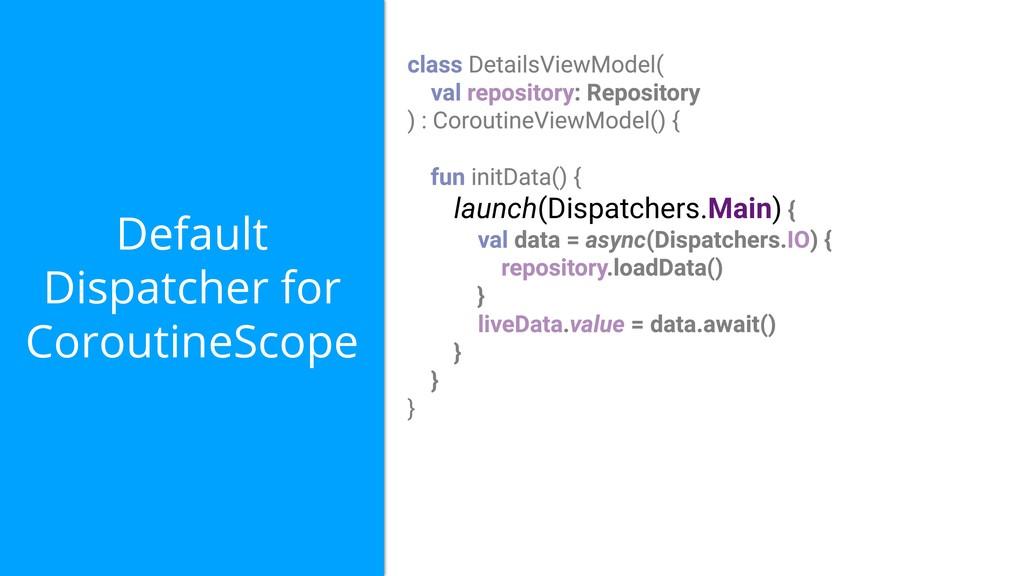 Default Dispatcher for CoroutineScope launch(Di...