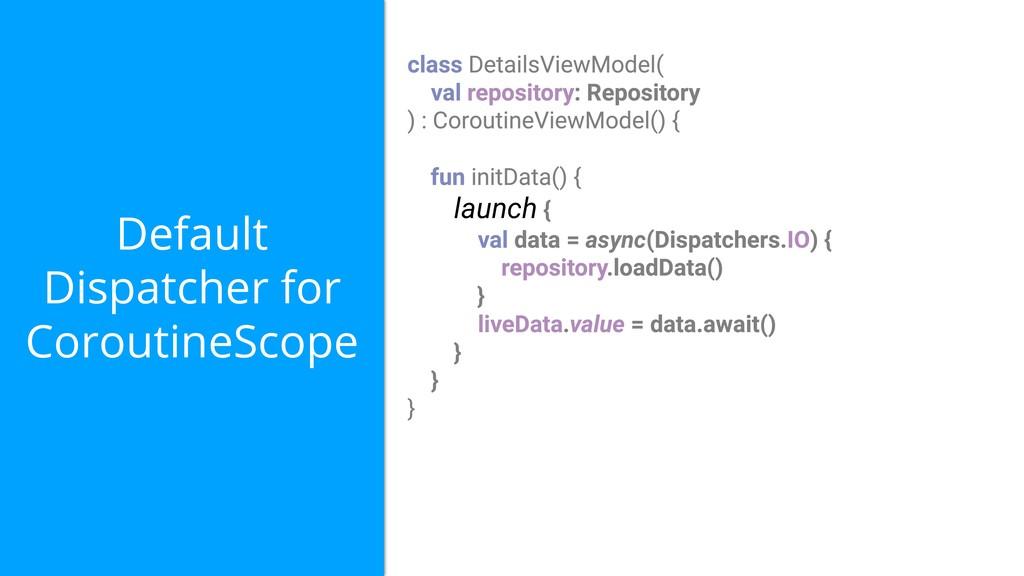 Default Dispatcher for CoroutineScope launch