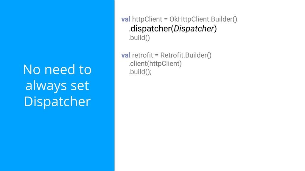No need to always set Dispatcher dispatcher(Dis...