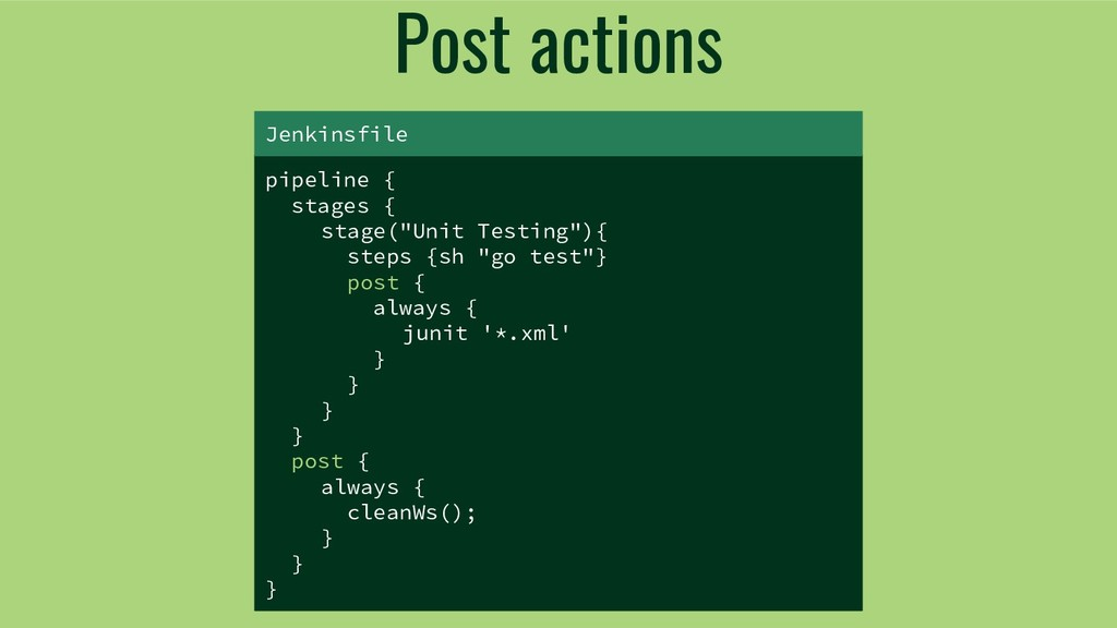 "Post actions pipeline { stages { stage(""Unit Te..."