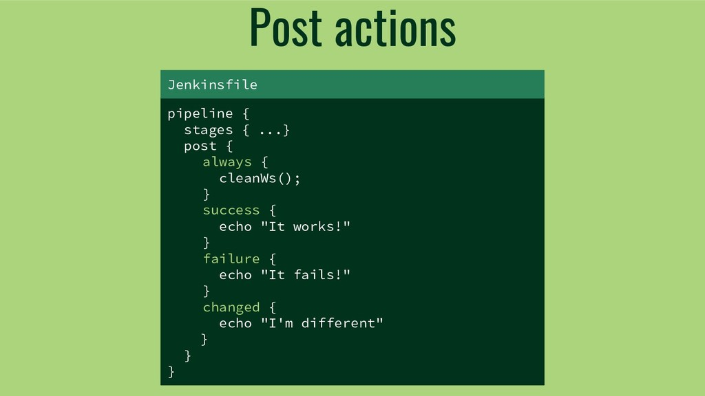 Post actions pipeline { stages { ...} post { al...