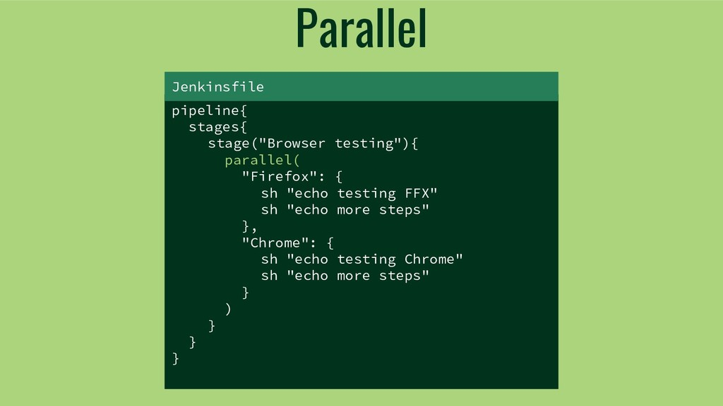 "Parallel pipeline{ stages{ stage(""Browser testi..."