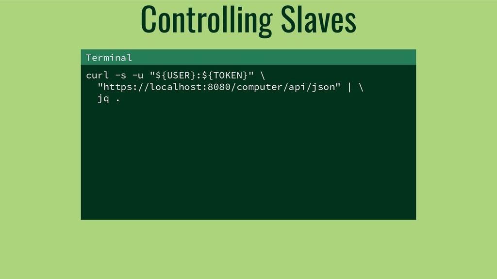 "Controlling Slaves curl -s -u ""${USER}:${TOKEN}..."