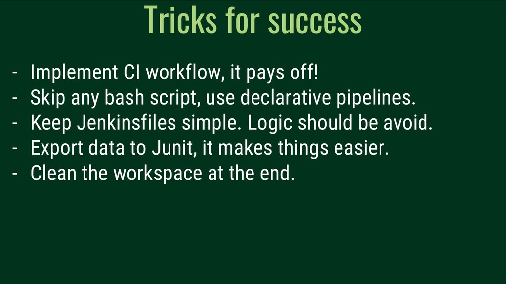 Tricks for success - Implement CI workflow, it ...