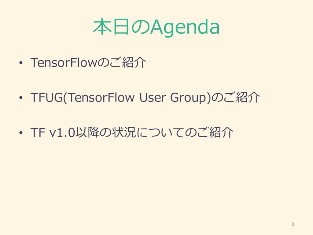 本⽇日のAgenda • TensorFlowのご紹介 • TFUG(TensorFlow U...