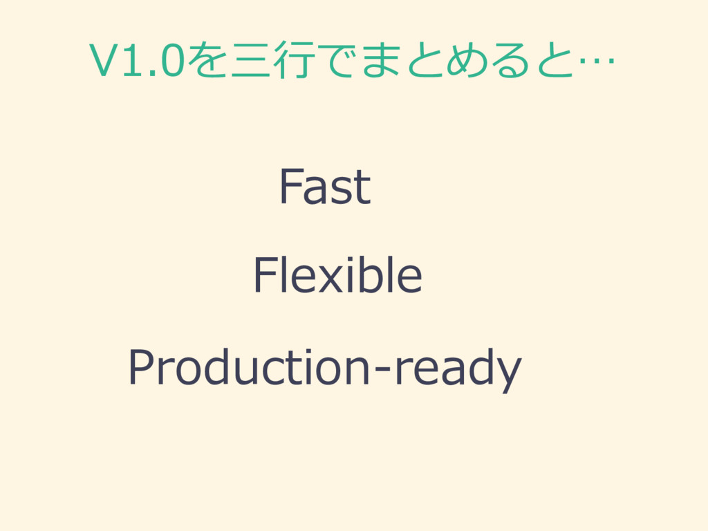 V1.0を三⾏行行でまとめると… Fast Flexible Production-‐‑‒re...