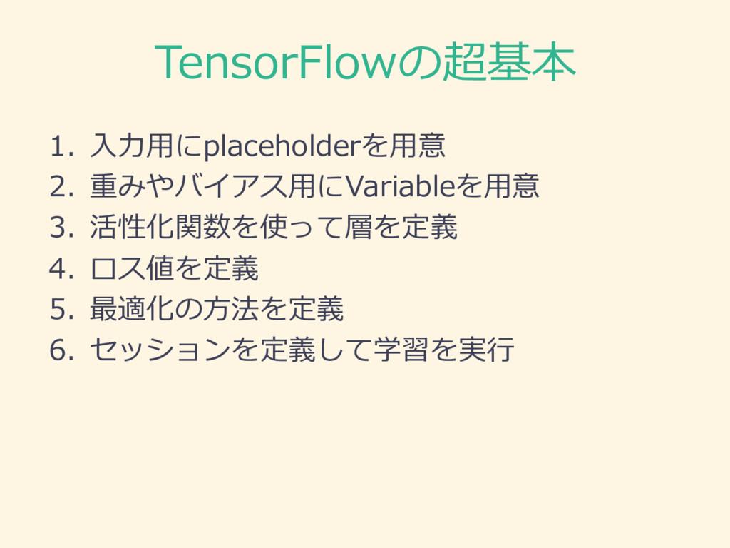 TensorFlowの超基本 1. ⼊入⼒力力⽤用にplaceholderを⽤用意 2. 重み...